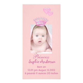 Pink Princess Girl Birth Announcement Photocard