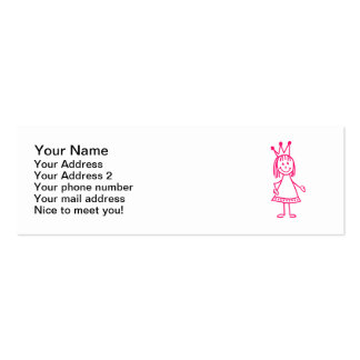 Pink princess girl mini business card