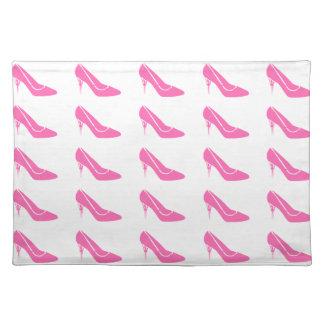 Pink Princess High Heel Shoes Placemat Cloth Place Mat