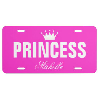Pink princess license plate with personalized name
