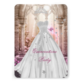 Pink Princess Magical Quinceanera 15th Birthday Card