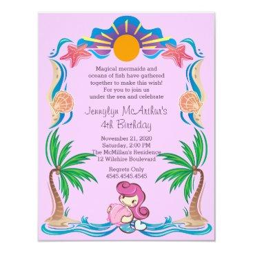 Ocean Themed PInk Princess Mermaid Birthday Party Invitation