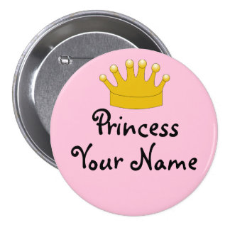 Pink Princess Nametag Pin Gold Crown Personalized