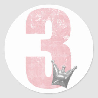 Pink Princess Number 3 Birthday Party Sticker