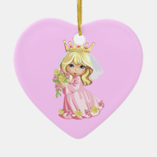 Pink Princess Double-Sided Heart Ceramic Christmas Ornament