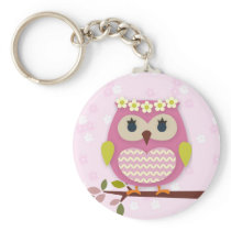 Pink Princess Owl 02 Keychain