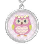 Pink Princess Owl Round Necklace