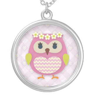 Pink Princess Owl Round Necklace