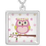 Pink Princess Owl Square Necklace