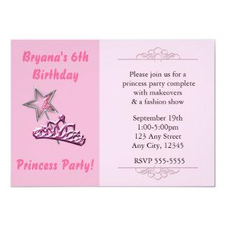 Pink Princess Party Birthay Invitations Wand Crown