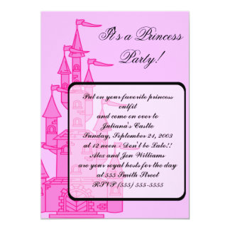 "Pink ""Princess Party"" Invitations 5"" X 7"" Invitation Card"