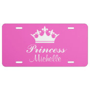 Pink Princess Personalized Name License Plate at Zazzle