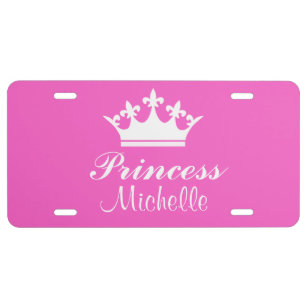 Pink Princess Tiara Novelty Metal License Plate with Sticky Notes