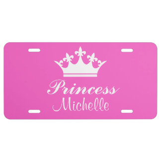 Pink Princess Personalized Name License Plate