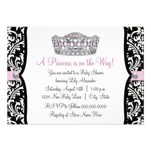 Pink Princess Pink Black Damask Baby Shower Custom Invitations