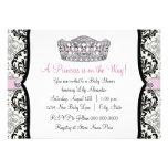 Pink Princess Pink Black Damask Baby Shower Custom Announcements