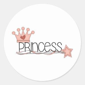 Pink Princess · Princess Wordart Classic Round Sticker