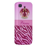 Pink Princess Printed Crown Glitter Zebra Case For iPhone 4