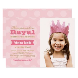 Pink Princess | Royal Birthday Girl Photo Party Invitation