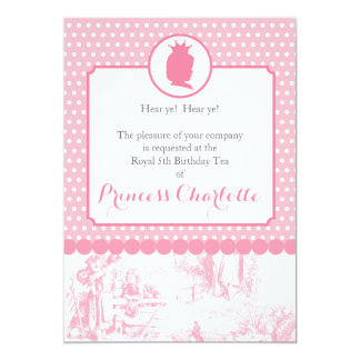 Pink Princess Silhouette Toile Party Invitation