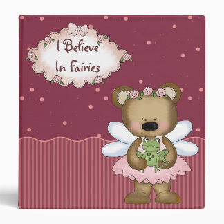 Pink Princess Teddy Bear Binder Binder