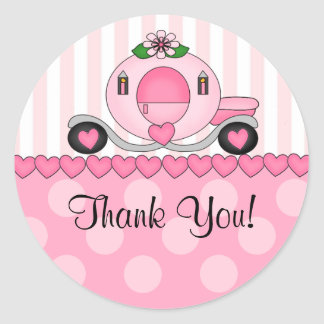 Pink Princess Thank You Sticker
