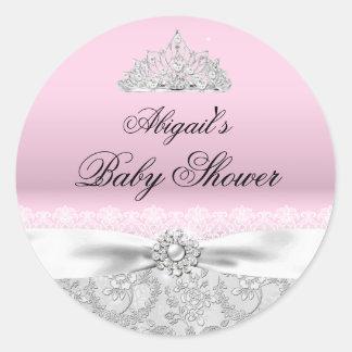 Pink Princess Tiara & Bow Baby Shower Sticker