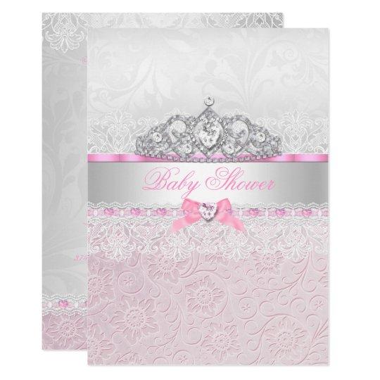 Pink princess tiara lace baby shower invitation zazzle pink princess tiara lace baby shower invitation filmwisefo