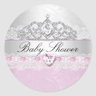 Pink Princess Tiara & Lace Baby Shower Stickers