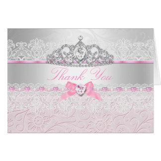 Pink Princess Tiara & Lace Thank You Card