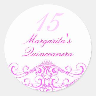 Pink Princess Tiara Quinceanera Sticker