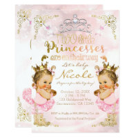 Pink Princess Tutu & Crown Twin Girls Baby Shower Card