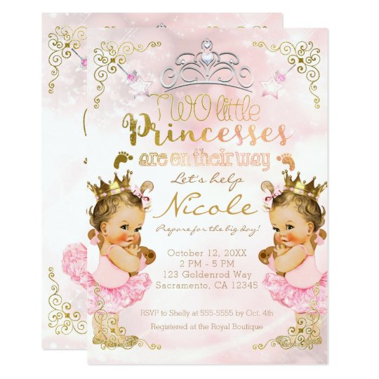 Pink Princess Tutu Crown Twin Girls Baby Shower Invitation
