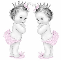 Pink Princess Twin Girl Baby Shower Cutout