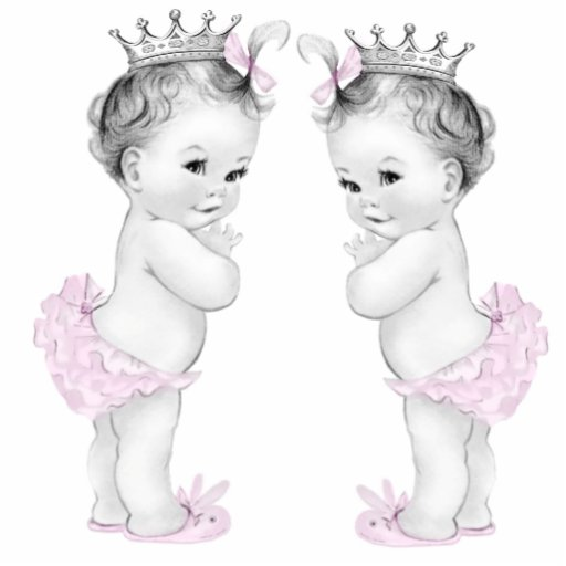 Pink Princess Twin Girl Baby Shower Photo Sculpture