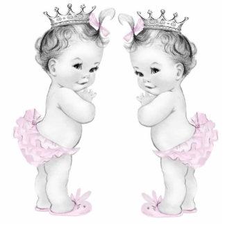 Pink Princess Twin Girl Baby Shower Standing Photo Sculpture