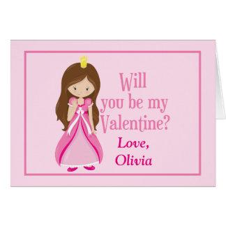 Pink Princess Valentine's Day Customizable Greeting Card