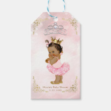 Pink Princess Vintage Tan Baby Girl Shower Favor Gift Tags