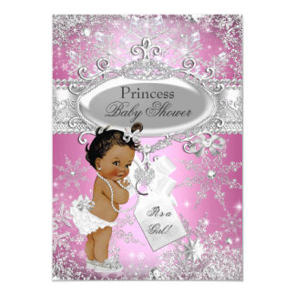 Pink Princess Winter Wonderland Baby Shower Ethnic Card