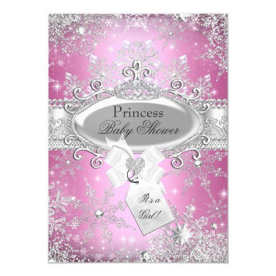 Pink Princess Winter Wonderland Baby Shower Invite