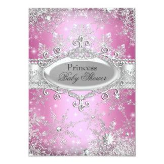 "Pink Princess Winter Wonderland Baby Shower Invite 4.5"" X 6.25"" Invitation Card"