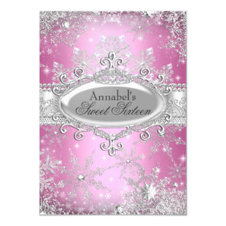 Pink Princess Winter Wonderland Sweet 16 Invite