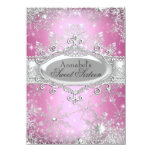 "Pink Princess Winter Wonderland Sweet 16 Invite 4.5"" X 6.25"" Invitation Card"