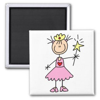 Pink Princess With Wand Magnet magnet