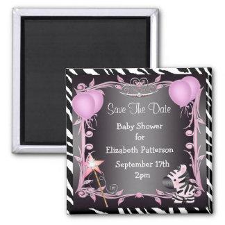 Pink Princess Zebra Baby Shower Save The Date Fridge Magnets