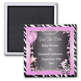 Pink Princess Zebra Baby Shower Save The Date Magnets