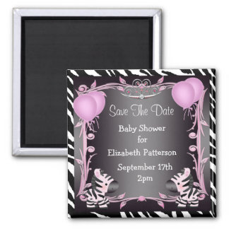 Pink Princess Zebra Baby Shower Save The Date 2 Inch Square Magnet