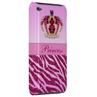 Pink Printed Princess Crown & Zebra Glitter Barely There iPod Cover