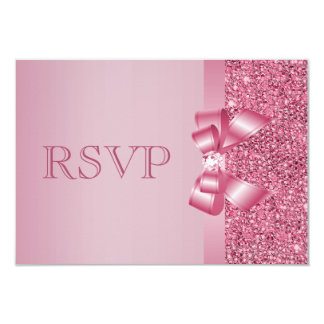 Pink Printed Sequins Bow & Diamond RSVP 3.5x5 Paper Invitation Card