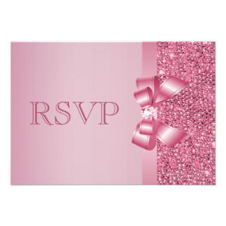 Pink Printed Sequins Bow Diamond RSVP Personalized Invites